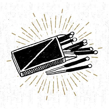 Icono mano dibuja con una caja de cerillas ilustración vectorial con textura. Foto de archivo - 57707198