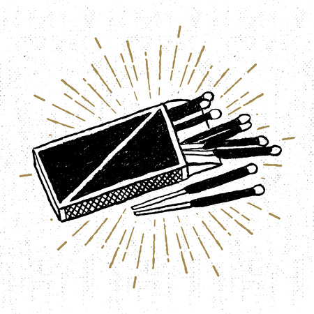 Hand drawn icon with a textured matchbox vector illustration.