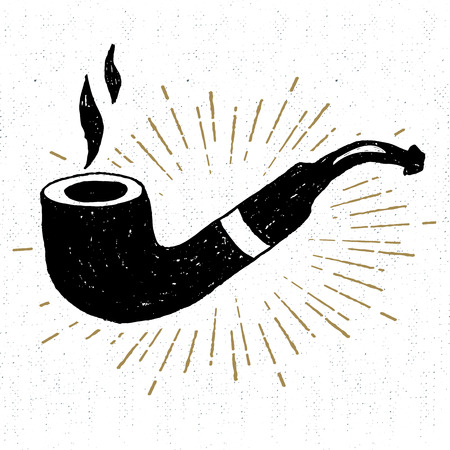 smoking pipe: Hand drawn icon with a textured smoking pipe vector illustration. Illustration