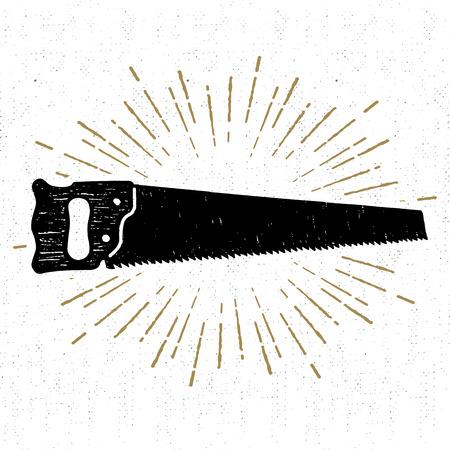 Hand drawn icon with a textured saw vector illustration. Illusztráció