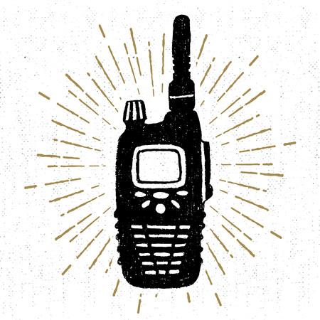 portable radio: Hand drawn icon with a textured portable radio receiver vector illustration. Illustration
