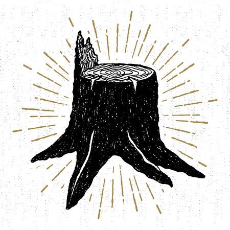 手には、テクスチャの切り株ベクトル イラスト アイコンが描画されます。