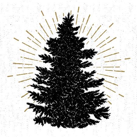 手には、テクスチャ モミの木ベクター グラフィックとアイコンが描画されます。