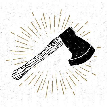nag: Hand drawn icon with a textured axe vector illustration.