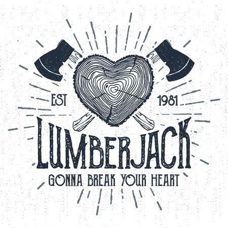 radial cracks: Hand drawn label with textured log vector illustration and Lumberjack. Gonna break your heart lettering. Illustration