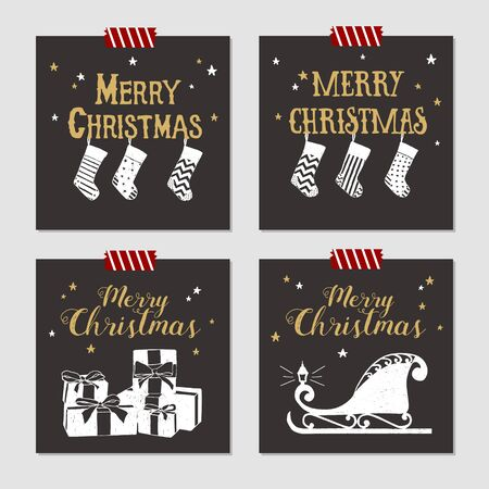 christmas stockings: Hand drawn Christmas cards set with textured Christmas stockings, gift boxes, and sleigh vector illustrations.