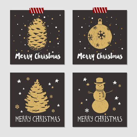pine cone: Hand drawn Christmas cards set with textured pine cone, decorative ball, fir tree, and snowman vector illustrations.
