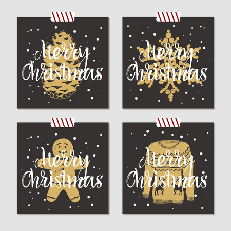 pine cone: Hand drawn Christmas cards set with textured pine cone, snowflake, gingerbread man, and Christmas sweater vector illustrations.