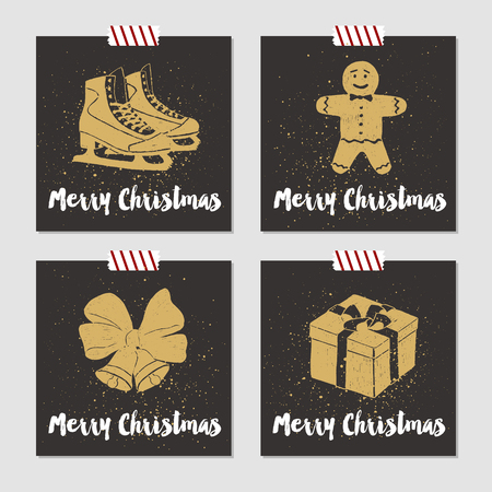 hand bells: Hand drawn Christmas cards set with textured ice skates, gingerbread man, bells with ribbon, and gift box vector illustrations.
