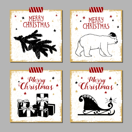 Hand drawn Christmas cards set with textured fir tree branch, polar bear, gift boxes, and Santas sleigh vector illustrations.