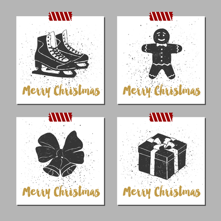 hand bells: Hand drawn Christmas cards set with textured ice skates, gingerbread man, Christmas bells, and gift box vector illustrations.