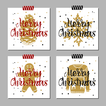 fir cone: Hand drawn Christmas cards set with textured fir cone, snowflake, gingerbread man, Christmas sweater vector illustrations. Illustration