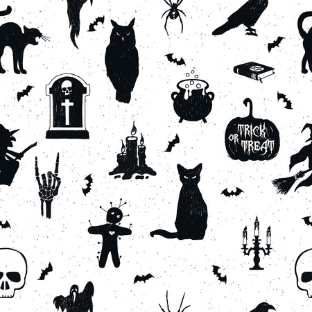 Halloween seamless pattern with hand drawn vector illustrations of an owl, tombstone, kettle, jack-o-lantern, raven, cat, witch, voodoo doll, candelabrum, skull, and bats.