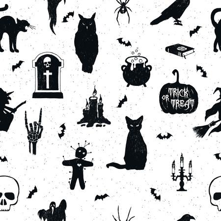 Modelo inconsútil de Halloween con ilustraciones de vector dibujado mano de un búho, lápida, hervidor de agua, Jack-o-linterna, cuervo, gato, bruja, muñeca del vudú, candelabro, el cráneo y los murciélagos.