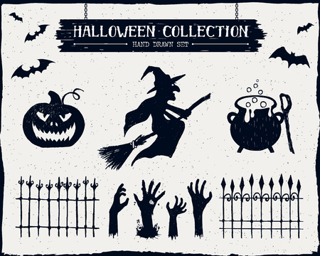 face silhouette: Hand drawn textured Halloween set of a witch, jack-o-lantern, cauldron, and zombie hands illustrations. Illustration