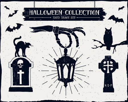 Hand drawn textured Halloween set of tombstones, owl, black cat, lantern, and bats illustrations.