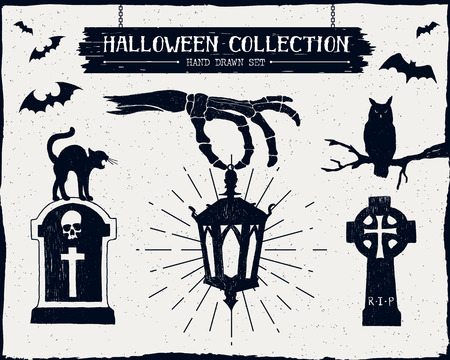 halloween tree: Hand drawn textured Halloween set of tombstones, owl, black cat, lantern, and bats illustrations.