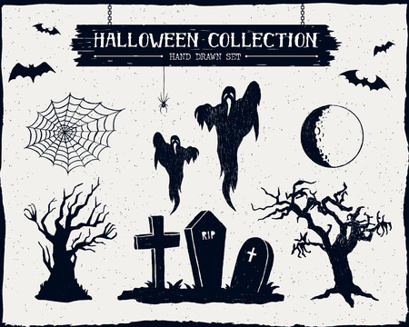 Hand drawn textured Halloween set of graveyard, ghosts, dead trees, full moon, and spiderweb illustrations.