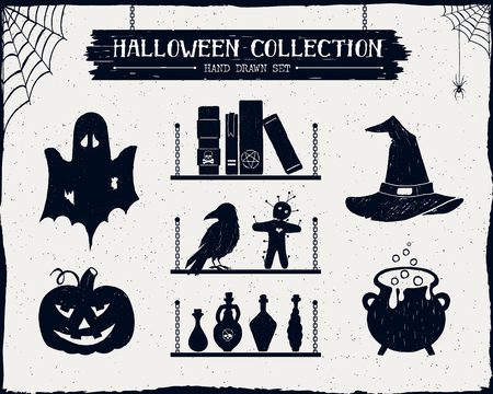 vials: Hand drawn textured Halloween set of ghost, jack-o-lantern, spell books, witch hat, cauldron, and potion vials illustrations.