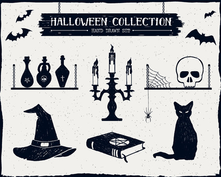 vials: Hand drawn textured Halloween set of witch hat, vials, candlestick, skull, and cat illustrations.
