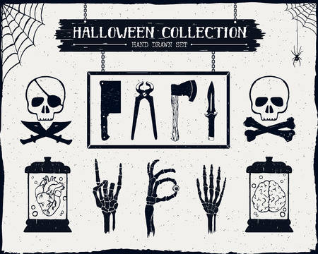 cold steel: Hand drawn textured Halloween set of steel arms, skulls, embalmed heart and brain, and skeleton hands illustrations.