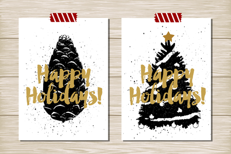 pine cone: Hand drawn textured New Year card with pine cone and Christmas tree vector illustrations. Illustration