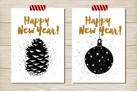 Hand drawn textured New Year cards set with pine cone and Christmas tree ball vector illustrations.
