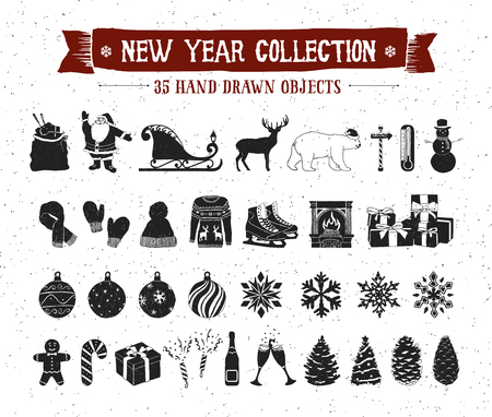 fir trees: Hand drawn textured New Year icons set with Santa Claus bag, sleigh, deer, polar bear, snowman, Christmas tree balls, snowflakes, pine cones, fir trees, knitted hat, mittens, scarf vector icons.