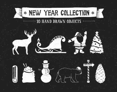 santas sleigh: Hand drawn textured New Year icons set with deer, Santas sleigh, Santa Claus, Christmas tree, snowman, bag of gifts, polar bear, and pine cone vector illustrations.