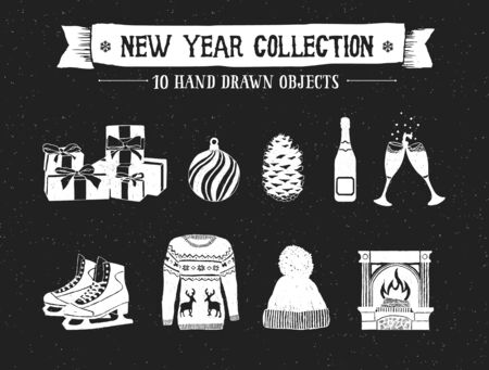 pine cone: Hand drawn textured New Year icons set with pile of gifts, decorative ball, pine cone, champagne bottle and glasses, ice skates, Christmas sweater, knitted cap, and fireplace vector illustrations. Illustration