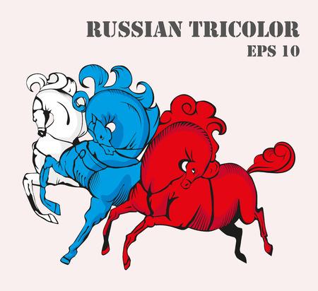 tricolor: Russian tricolor horses vector illustration.