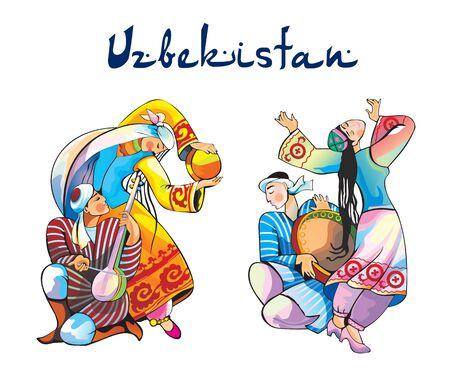uzbekistan: Uzbekistan traditional dances vector illustration Illustration