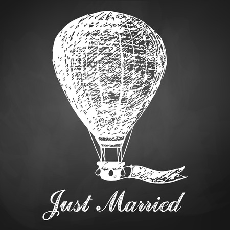 navigating: Hand drawn chalk card with air balloon for wedding, newlyweds. Just married lettering. Black board background. Illustration