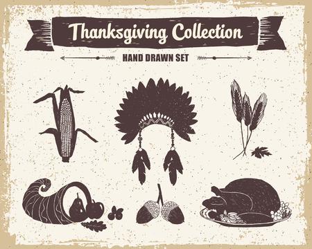 cornucopia: Hand drawn textured vintage Thanksgiving set of corn, Indian head piece, wheat, cornucopia, acorns, and turkey meal vector illustrations.