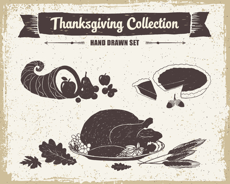 garnished: Hand drawn textured vintage Thanksgiving day set of cornucopia, pumpkin pie, and turkey meal vector illustrations.