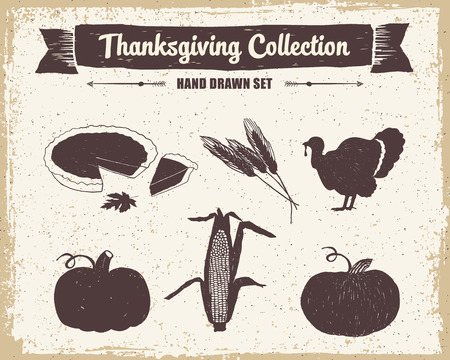 Hand drawn textured vintage Thanksgiving day set of pumpkin pie, wheat, turkey, pumpkins, and corn vector illustrations.