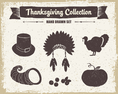 horn of plenty: Hand drawn textured vintage Thanksgiving set of pilgrim hat, Indian head piece, turkey, cornucopia, cranberries, and pumpkin vector illustrations. Illustration