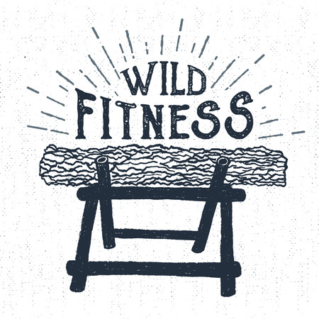 nag: Hand drawn label with textured log vector illustration and Wild fitness lettering. Illustration