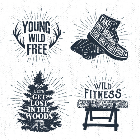 nag: Hand drawn vintage badges set with textured horns, boots, fir tree, and log vector illustrations and inspirational lettering.