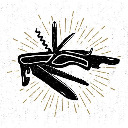 手織り目加工のスイスのナイフ ベクトル図で描画したアイコン。  イラスト・ベクター素材