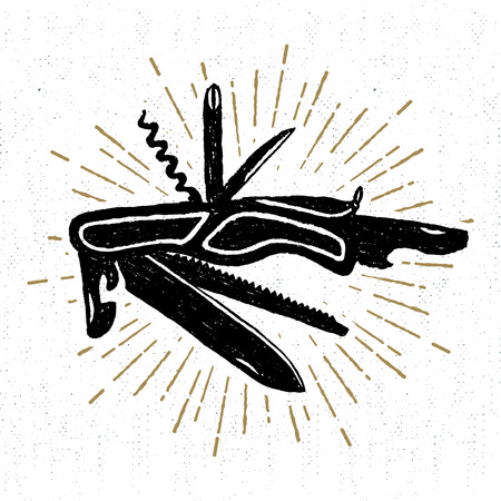 Hand drawn icon with a textured swiss knife vector illustration.