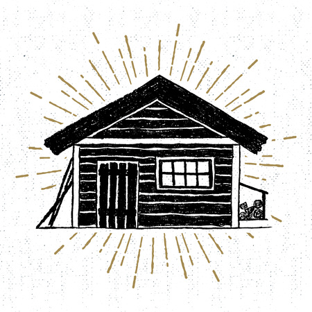 log: Hand drawn icon with a textured wooden cabin vector illustration.