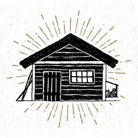 cabaña: Mano icono dibujado con un ejemplo del vector de la cabina de madera con textura. Vectores