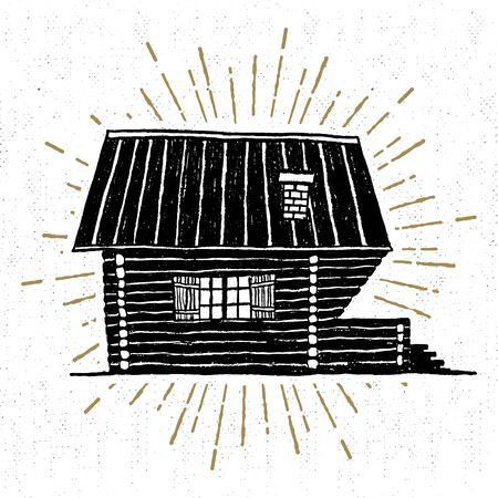 Hand getrokken pictogram met geweven houten hut vector illustratie.