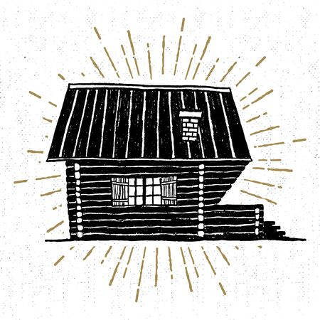wooden hut: Hand drawn icon with textured wooden hut vector illustration.