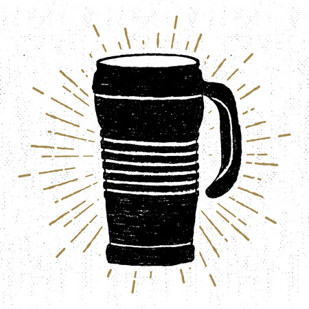 thermo: Hand drawn icon with a textured thermo cup vector illustration.
