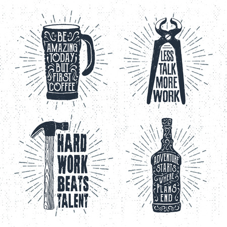 pincers: Hand drawn vintage badges set with textured thermo cup, pincers, hammer, and whiskey bottle vector illustrations and inspirational lettering.