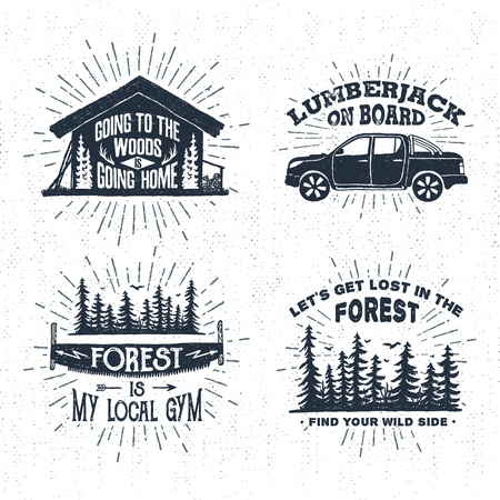 Hand drawn vintage badges set with textured wooden cabin, pickup truck, saw, and spruce forest vector illustrations and inspirational lettering.