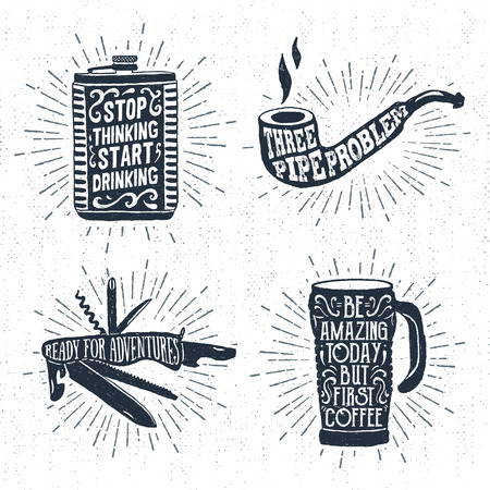thermo: Hand drawn vintage badges set with textured flask, smoking pipe, swiss knife, and thermo cup vector illustrations and inspirational lettering.
