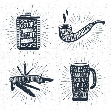 Hand gezeichnet Vintage-Abzeichen-Set mit strukturiertem Kolben, Pfeife rauchen, Schweizer Messer und Thermobecher Vektor-Illustrationen und inspirierend Schriftzug. Vektorgrafik
